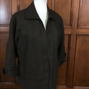 Talbots Pure Irish Linen Womens Sz 1x Brown Jacket
